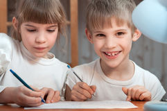 Kids drawing pen Royalty Free Stock Images