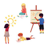 Kids drawing with pencils, crayons, paints, fingers, standing, sitting, lying. Kids drawing with pencils, crayons, paints, fingers, cartoon vector illustration Royalty Free Stock Photography