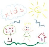 Kids drawing picture - vector. Kids drawing picture - pastel imitation -  illustration Stock Photos