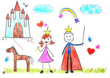 Kids drawing princess and prince stock images