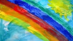 Kids drawing a rainbow royalty free stock photo