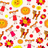 Kids drawing seamless pattern Royalty Free Stock Image