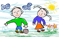 Kids drawing style of boy and girl. Kids drawing style of happy boy and happy girl. EPS file available Stock Images