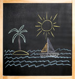 Kids drawing sun palm island sailboat sea. Kids drawing, sun palm island sailboat sea on black board Royalty Free Stock Photo