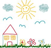 Kids drawing of sunny day house Stock Photography