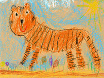 Kids drawing of a tiger Stock Photo