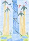 Kids drawing - tropical waterfall Stock Photo