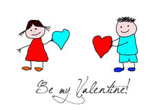 Kids drawing -  valentines day Stock Image