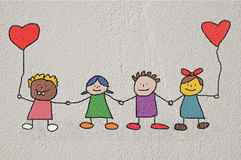 Kids drawing -  valentines day Royalty Free Stock Photo