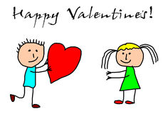 Kids drawing -  valentines day Stock Photos