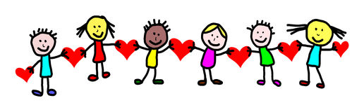 Kids drawing -  valentines day. Greeting card Stock Image