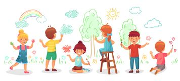 Kids drawing on wall. Childrens group draw color paintings on walls, child paint art cartoon vector illustration