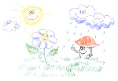 Kids drawing of weather Stock Images