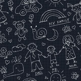 Kids Drawings doodle seamless pattern. Vintage illustration for identity. Design, decoration, packages product and interior decorating Royalty Free Stock Photos