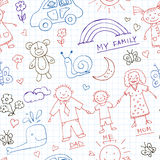 Kids Drawings doodle seamless pattern. Vintage illustration for identity. Design, decoration, packages product and interior decorating Royalty Free Stock Photography