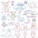 Kids Drawings doodle set. Vintage illustration for identity. Design, decoration, packages product and interior decorating Royalty Free Stock Image