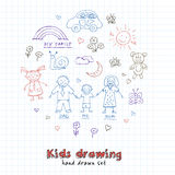 Kids Drawings doodle set. Vintage illustration for identity. Design, decoration, packages product and interior decorating Royalty Free Stock Photos