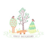 Kids drawings doodle style forest background with trees, birds and fox Stock Photo