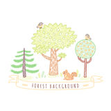 Kids drawings doodle style forest background with trees, birds, ribbon and squirrel. Stock Photography