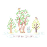Kids drawings doodle style forest background with trees and bunny Royalty Free Stock Photo