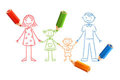 Kids drawn family. Family drawing with color pencils, isolated on white background Royalty Free Stock Images