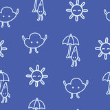 Kids drawn weather seamless pattern with sun, cloud and raindrop. With umbrella. Vector cartoon art line background for web and textile or fabric design royalty free illustration