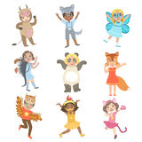 Kids Dressed As Animals Set Royalty Free Stock Photo