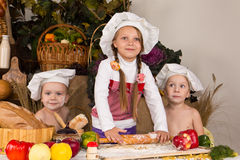 Free Kids Dressed As Chefs Cooking Stock Image - 22053511