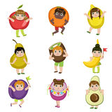 Kids Dressed As Fruits Royalty Free Stock Photography