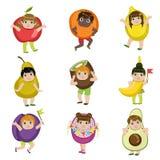 Kids Dressed As Fruits vector illustration