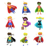 Kids Dressed as Superheroes Set Royalty Free Stock Photography