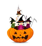 Kids dressed in various halloween costumes Royalty Free Stock Images