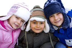 Kids Dressed for Winter Stock Photos