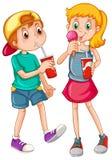 Kids_drinking Arkivbilder