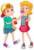 Kids_drinking Stock Images