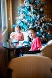 Kids drinking tea Royalty Free Stock Images