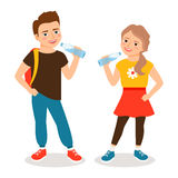 Kids drinking water. Cartoon little boy and small girl drinks clean water isolated on white background. Vector illustration royalty free illustration