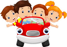 Kids driving car cartoon. Illustration of Kids driving car cartoon Royalty Free Stock Photography