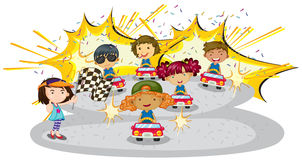 Kids driving cars Royalty Free Stock Photos