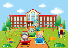 Kids driving cars to school Royalty Free Stock Images