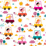 Kids driving toy cars pattern Stock Photography