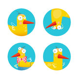 Kids Duck Funny Icons Set Stock Photo