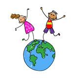 Kids and earth.Happy kids on earth. Stock Photography