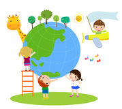 Kids and earth Royalty Free Stock Image