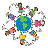 Kids, earth and peace-AMERICA stock image