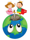 Kids on earth planet Royalty Free Stock Image