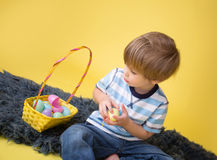 Kids' Easter Egg Hunt, Basket Stock Images