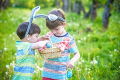 Kids on Easter egg hunt in blooming spring garden. Children sear. Ching for colorful eggs in flower meadow. Toddler boy and his brother friend kid boy play Royalty Free Stock Images