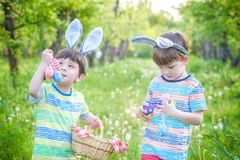 Kids on Easter egg hunt in blooming spring garden. Children sear. Ching for colorful eggs in flower meadow. Toddler boy and his brother friend kid boy play Stock Image