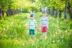 Kids on Easter egg hunt in blooming spring garden. Children sear. Ching for colorful eggs in flower meadow. Toddler boy and his brother friend kid boy play Stock Photography
